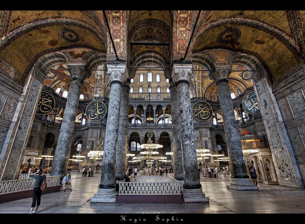 The Interior Of The Upper Gallery In Hagia Sophia ...   Hagia Sophia Interior Columns