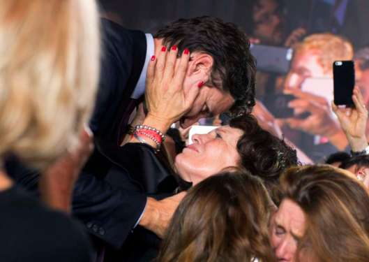 Liberal leader and incoming prime minister Justin Trudeau hugs his mother Margaret Trudeau as he makes his way on stage at Liberal party headquarters in Montreal on Monday, Oct. 19, 2015 after winning the 42nd Canadian general election. THE CANADIAN PRESS/Justin Tang