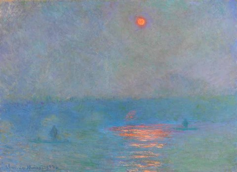 From the balcony of his London hotel room overlooking the Thames, Monet could see Waterloo Bridge if he faced to his left. He worked on this subject through the afternoon and after dinner. Gustave Geffroy, a friend of Monet, described it in this way: 'Waterloo Bridge, made of huge solid stone, towered over the water like some aerial construction.' In this painting the morning mist partially conceals the industrial landscape of the opposite riverbank. So once again, the real subject becomes the atmospheric variations of the London environment. Hence the group of canvases around Waterloo Bridge have names reminiscent of the Grainstacks series painted by the artist a few years earlier.